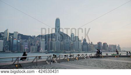 Tsim Sha Tsui, Hong Kong 14 April 2021: Hong Kong city at sunset