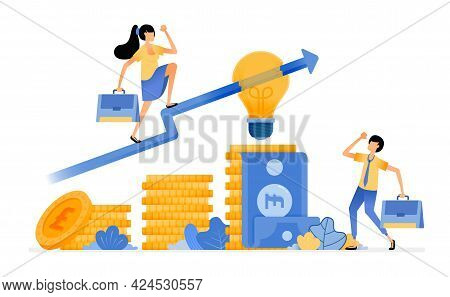 Vector Design Of Idea In Choose Best Financial Investment. Increase Investment In Money Market. Tier