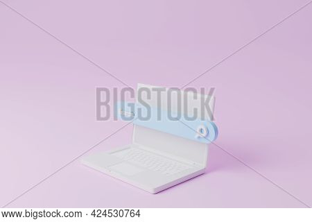 Search Bar And Computer Laptop On Pink Background. Searching Information Data On Internet Networking