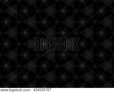 Seamless Abstract Black Textured Pattern With Kaleidoscope Effect. Symmetric Geometric Ornament For