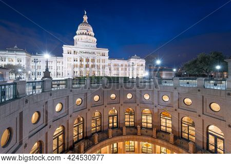 Austin, Texas, USA at the Texas State Capitol at night.