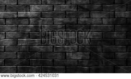 Close-up Of Black And White Brick Wall.wall Texture Background.