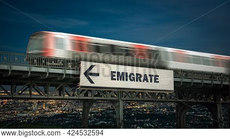 Street Sign The Direction Way To Emigrate