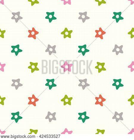 Star Background Pattern. Fun Bright Seamless Repeat Design Of Hand Drawn Stars. Vector Illustration