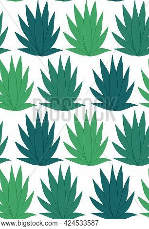 Seamless Tropical Pattern On White Background. Vector Vintage Texture Of Green Silhouette Of Palm Le