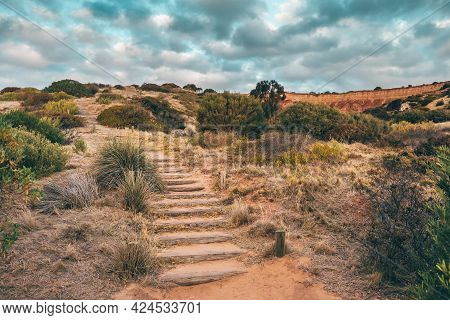 Historical Hallett Cove Wooden Uphill Trail  At Sunset, South Australia