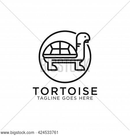 Tortoise Turtle Line Art Logo Design Vector, Best For Pet Or Animal Logo Inspirations