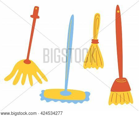 Set Of Different Mops. Cleaning Of The House And Other Premises. Set Of Cleaning Tools. Cleaning Ser