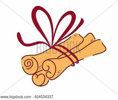 Cinnamon Sticks. Aromatic Spices Or Spicy Food Condiments Used In Culinary. Decorative Design Elemen