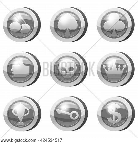 Set Of Silver Coins For Game Apps. Grey Icons, Card Suits, Crown, Scull, Key, Goblet, Symbols Game U