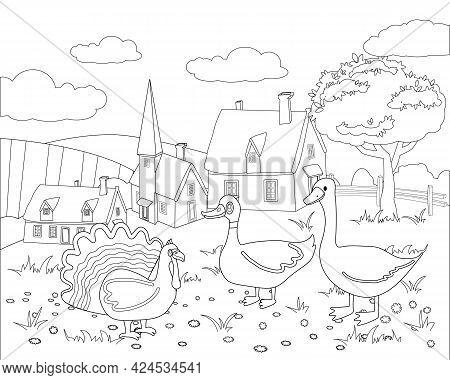 Farm Animals Coloring Book Educational Illustration For Children. Cute Turkey, Duck, Goose, Rural La
