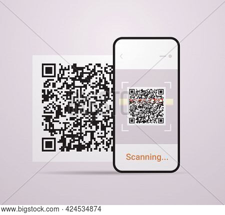 Scanning Qr Code On Smartphone Screen Electronic Digital Technology Machine Readable Barcode Verific
