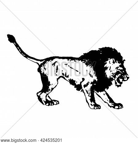 Black Silhouette Of A Large Menacing Lion On A White Background