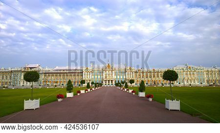 Pushkin, St. Petersburg, Russia - August, 2019: Facade Of Catherine Palace, Located In Suburb Of St.