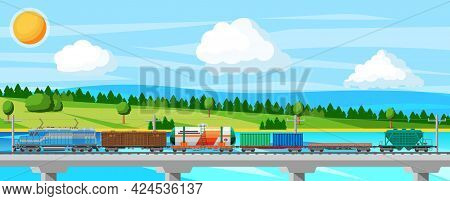 Train With Cargo Wagons, Cisterns, Tanks And Cars. Railroad Freight Collection. Nature Landscape Wit