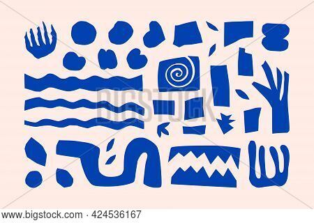 Inspired Matisse Geometric And Organic Shapes In A Trendy Minimal Style. Vector Art Collage Elements