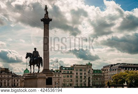 London, Uk - September 15 2018: The Statue Of King George Iv And The Nelson Column In Trafalgar Squa