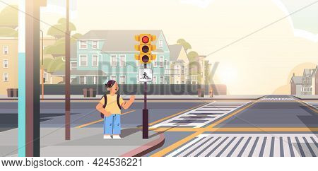 Schoolboy With Backpack Waiting For Green Traffic Light To Cross Road On Crosswalk Road Safety Conce