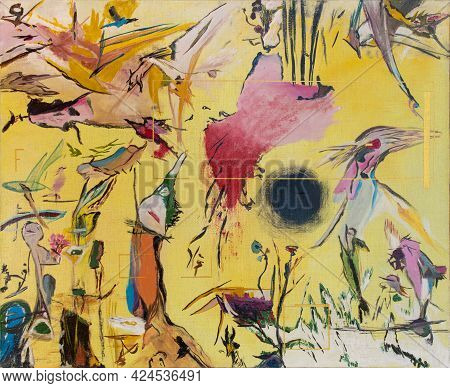 Bright Colorful Abstract Oil Painting On Canvas. Fantasy Figures Of Birds And Strange Creatures On A