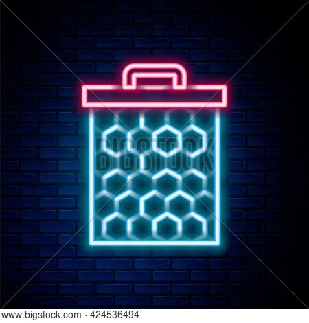 Glowing Neon Line Honeycomb Icon Isolated On Brick Wall Background. Honey Cells Symbol. Sweet Natura