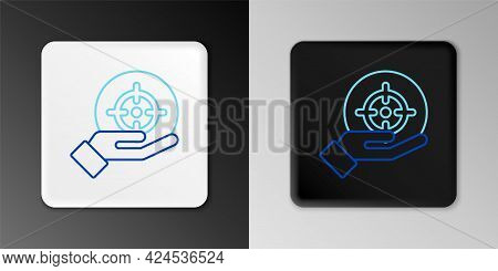 Line Target Financial Goal Concept Icon Isolated On Grey Background. Symbolic Goals Achievement, Suc
