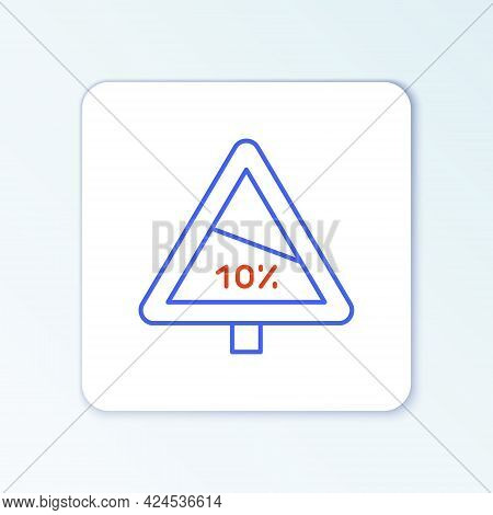 Line Steep Ascent And Steep Descent Warning Road Icon Isolated On White Background. Traffic Rules An
