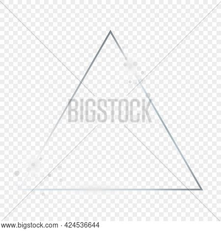 Silver Glowing Triangle Frame With Sparkles Isolated On Transparent Background. Shiny Frame With Glo