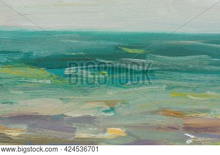 Sea Oil Painting. Abstract Turquoise Seascape. Impressionism, Plein-air Sketch, Fragment. The Concep