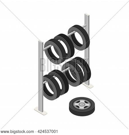 Car Tire Or Tyre As Ring-shaped Component Of Wheel Rim Hanging On Rack Isometric Vector Illustration