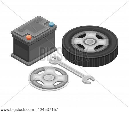 Car Spare Parts With Tire Or Tyre, Wrench And Ar Battery Isometric Vector Illustration