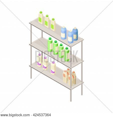 Car Liquid Or Substance In Bottles Rested On Rack In Auto Or Motor Vehicle Store Isometric Vector Il