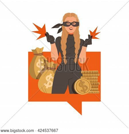 Woman Cybercriminal Wearing Black Mask Committing Network And Computer Crime Harming Security And Fi