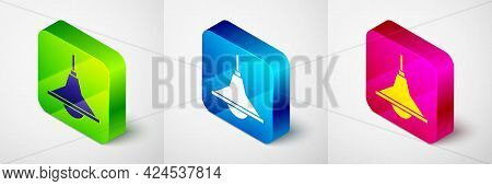 Isometric Chandelier Icon Isolated On Grey Background. Square Button. Vector