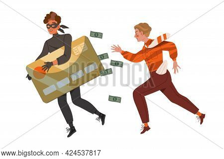 Young Man Chasing Cybercriminal Escaping With His Credit Card Vector Illustration