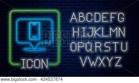 Glowing Neon Phone Repair Service Icon Isolated On Brick Wall Background. Adjusting, Service, Settin
