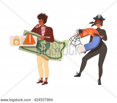 Man With Dollar Banknote As Victim Of Cybercriminal With Magnet Committing Network Crime Harming Fin