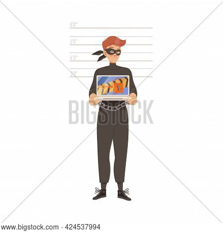 Man Cybercriminal Wearing Black Mask And Shackles Committing Network And Computer Crime Harming Secu