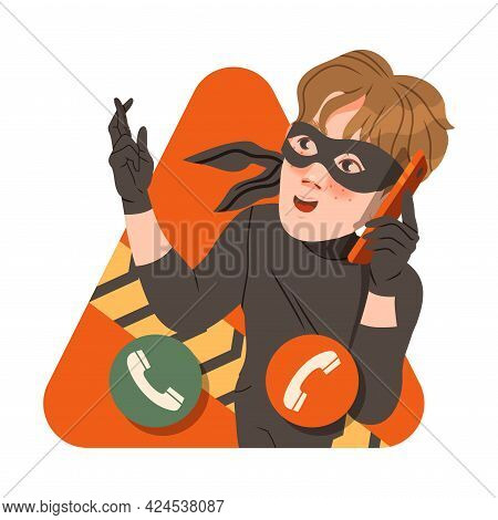 Man Cybercriminal Wearing Black Mask Committing Network Crime Harming Security And Financial Health