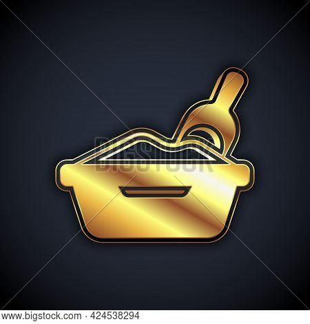 Gold Cat Litter Tray With Shovel Icon Isolated On Black Background. Sandbox Cat With Shovel. Vector