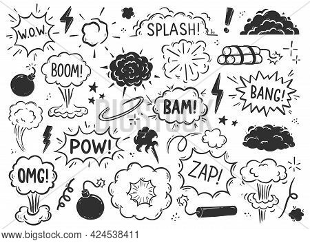 Hand Drawn Explosion, Bomb Element. Comic Doodle Sketch Style. Explosion Speech Bubble With Pow, Boo