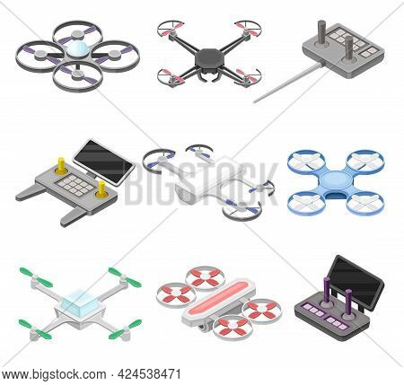 Pilotless Drone As Aerial Vehicle And Remote Control Panel Isometric Vector Set