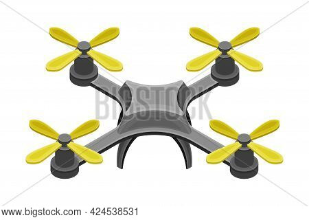 Pilotless Drone As Aerial Vehicle With Remote Control Isometric Vector Illustration