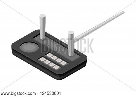 Drone Remote Controller Or Control Panel With Stick And Keypad Vector Isometric Illustration