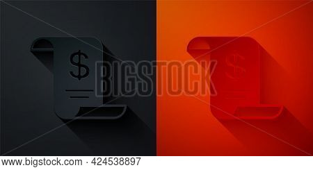 Paper Cut Paper Or Financial Check Icon Isolated On Black And Red Background. Paper Print Check, Sho