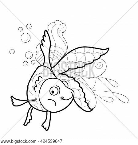 Contour Linear Illustration With Fish For Coloring Book. Cute Goldfish, Anti Stress Picture. Line Ar