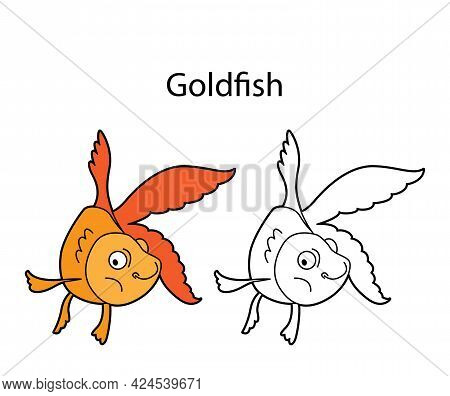 Funny Cute Animal Goldfish Isolated On White Background. Linear, Contour, Black And White And Colore