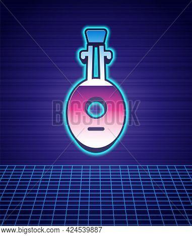 Retro Style Musical Instrument Lute Icon Isolated Futuristic Landscape Background. Arabic, Oriental,
