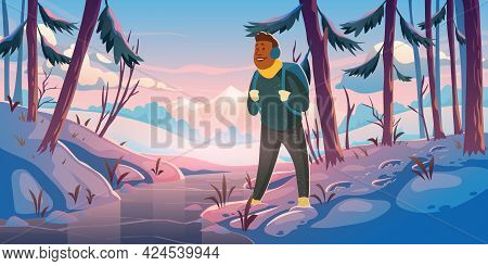 Adventure, Travel Journey Cartoon Landing Page, Traveler At Winter Forest With Mountains View. Touri