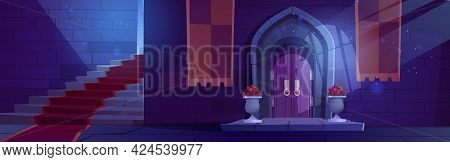 Medieval Night Castle Interior, Wooden Arched Door With Potted Flowers, Stone Stairs With Red Carpet