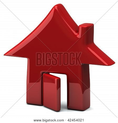 Red home icon, 3d